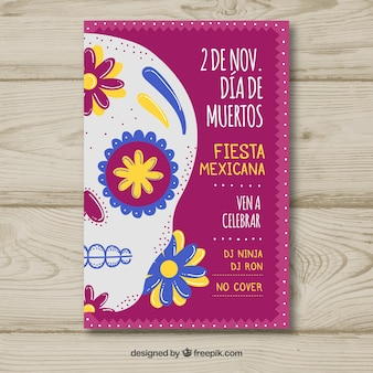 Day of the dead leaflet with skull of flowers