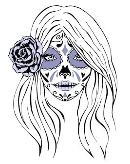Day of dead makeup girl face in vintage monochrome style isolated illustration girl with skeleton