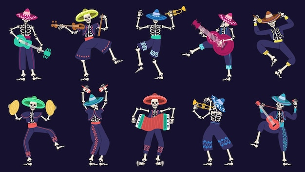 Day of the dead mariachi band. musical mexican festival skeletons characters vector illustration. dia de los muertos mariachi skeleton musicians. skeleton dance and play music, traditional performance