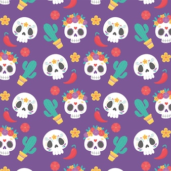 Day of the dead, mexican celebration culture cactus skull flowers decoration background.