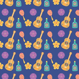 Day of the dead, mexican celebration guitar tequila bottle flowers maraca purple background.