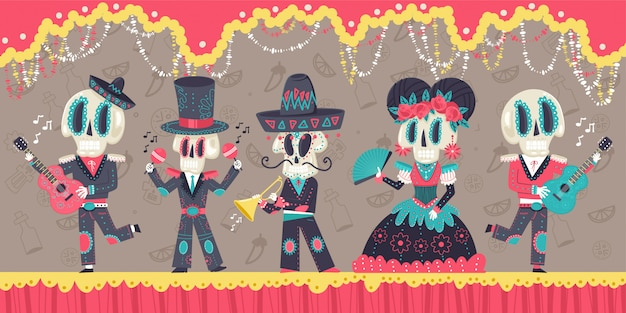 Day of the dead mexican holiday vector cartoon illustration with skeletons and music instruments.
