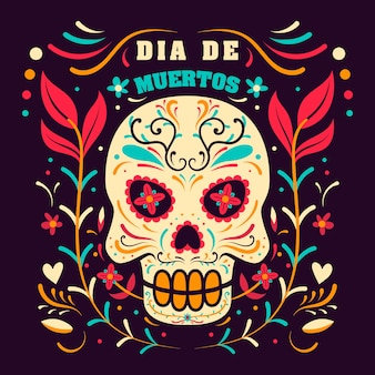 Day of dead in mexico, dia de los muertos holiday  template