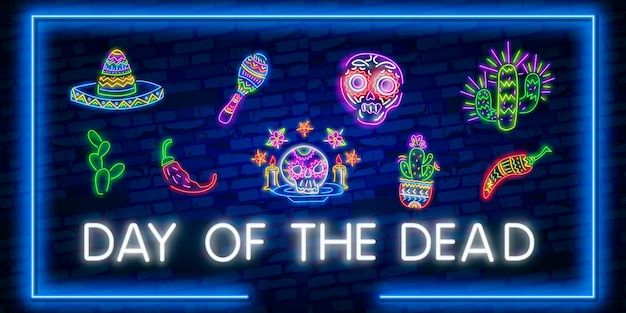 Day of the dead neon icon set