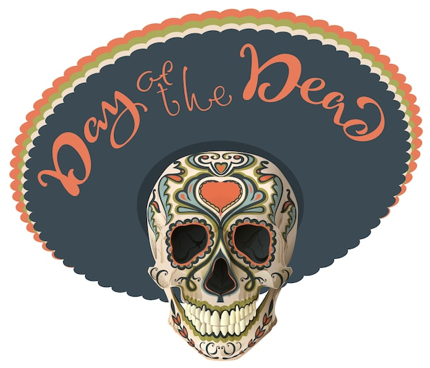 Day of the dead. painted skull in sombrero hat.