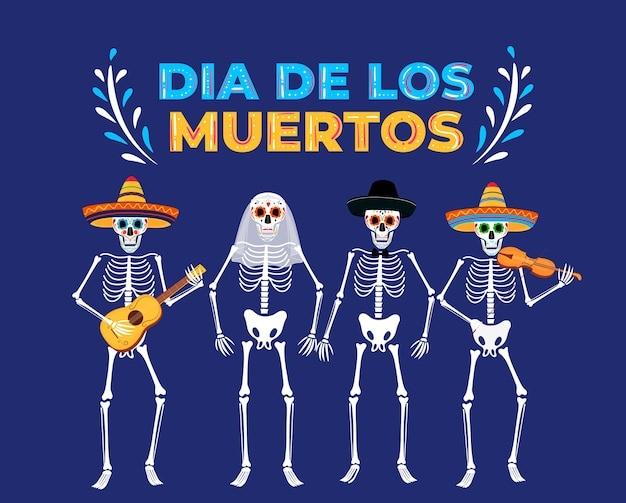 Day of the dead party. dia de los muertos. painted skeletons play musical instruments.