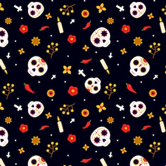 Day of the dead pattern flat design with skulls