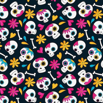 Day of the dead pattern hand drawn design
