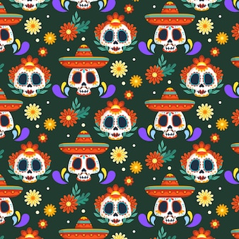 Day of the dead pattern hand drawn style