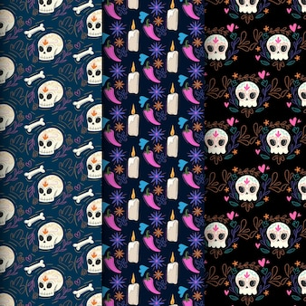 Day of the dead pattern with bones flat design
