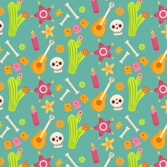 Day of the dead pattern with bones