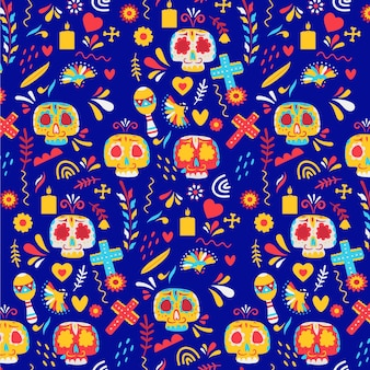 Day of the dead pattern with colorful skulls