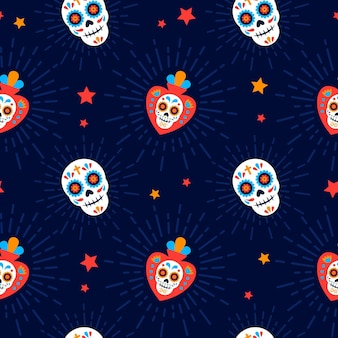 Day of the dead pattern with skull flat design