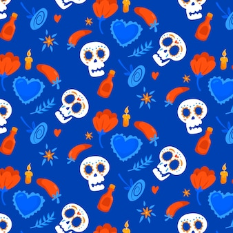 Day of the dead pattern with skulls