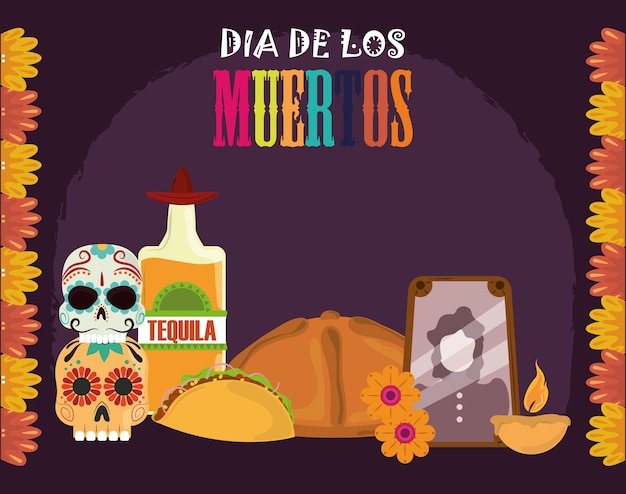 Day of the dead, photos frame tequila bottle bread taco candle, mexican celebration vector illustration