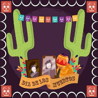 Day of the dead, photos frames maraca cactus flowers pennants decoration, mexican celebration vector illustration