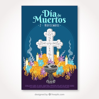 Day of the dead poster with hand drawn cross