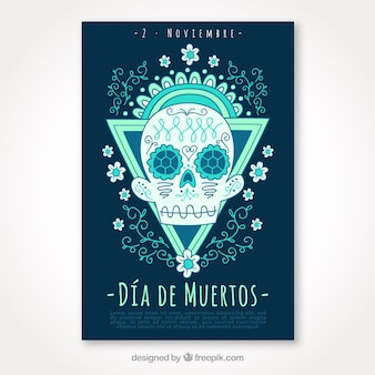 Day of the dead poster with hand drawn floral skull