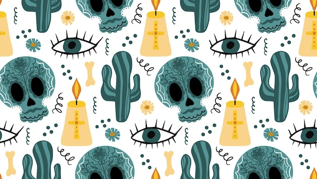 Day of the dead seamless pattern. dia de los muertos hand drawing repeating texture. mexican holiday halloween with sugar skulls background wallpaper or paper. vector illustration.