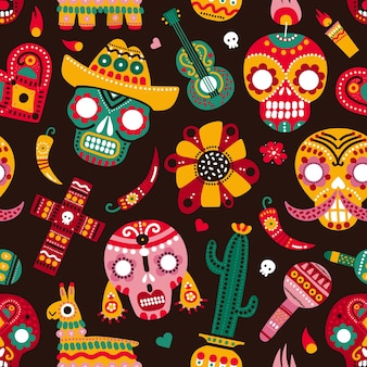 Day of dead seamless pattern. skulls, guitar and llama hot pepper, heart and flower. mexican dia de los muertos vector texture.