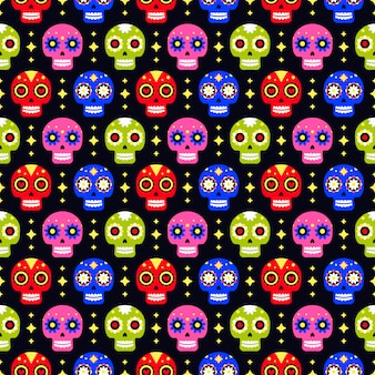 Day of the dead seamless pattern with colorful skull