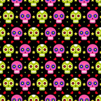 Day of the dead seamless pattern with colorful skulls on dark background. traditional mexican halloween design for dia de los muertos holiday party. ornament from mexico.
