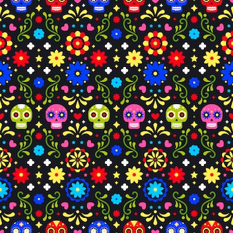 Day of the dead seamless pattern with colorful skulls on dark background