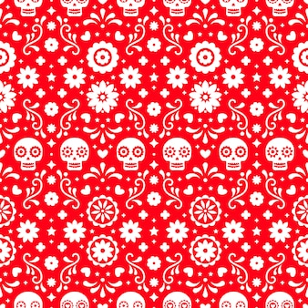 Day of the dead seamless pattern with skulls and flowers on red background. traditional mexican halloween design for dia de los muertos holiday party. ornament from mexico.