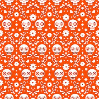 Day of the dead seamless pattern with skulls and flowers