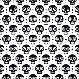 Day of the dead seamless pattern with skulls on white background. traditional mexican halloween design for dia de los muertos holiday party. ornament from mexico.