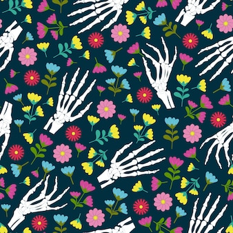 Day of the dead skeleton hand and flower seamless pattern