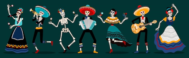 Day of the dead skeletons party