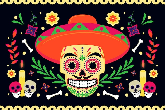 Day of the dead skull background flat design