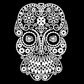 Day of the dead skull dia de los muertos illustration