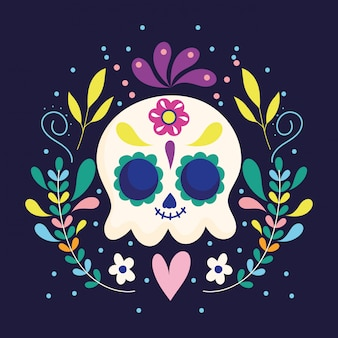 Day of the dead, skull flowers floral heart decoration traditional mexican celebration