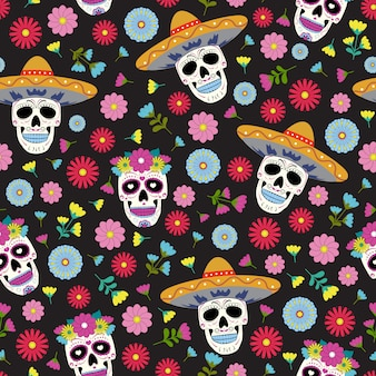 Day of the dead skull with floral ornament and flower seamless pattern