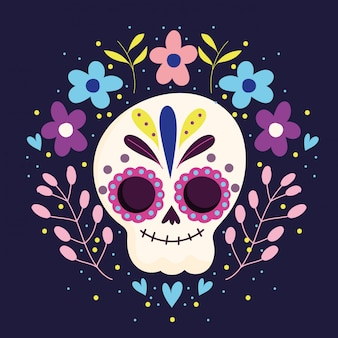 Day of the dead, sugar skeleton flowers character traditional mexican celebration