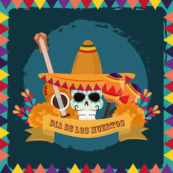 Day of the dead, sugar skull with hat guitar maracas and flowers, mexican celebration vector illustration