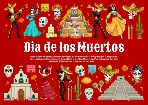 Day of the dead sugar skulls and catrina with mexican dia de los muertos altar  banner. dancing skeletons with sombreros, guitars and maracas, marigold flowers, tequila, bread and pyramid