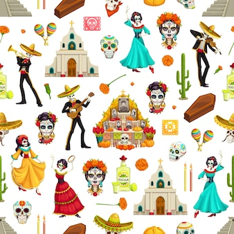 Day of dead sugar skulls, marigolds and sombreros seamless pattern. dia de los muertos  background of mariachi and flamenco dancer skeletons with guitars, altar and churches, maracas and tequila