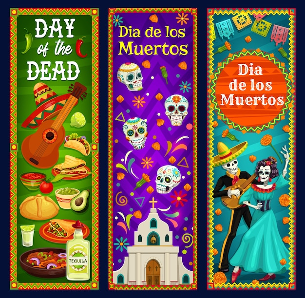 Day of the dead sugar skulls, skeleton and catrina  banners. mexican dia de los muertos sombrero, guitar and marigold flowers, musical festival mariachi and calavera, church, bread and tequila
