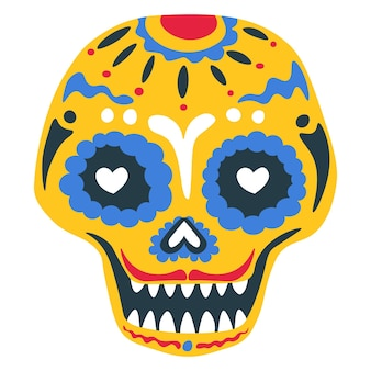Day of the dead tradition of skull painting, mexican holiday celebration. isolated calavera with ornaments and decorative lines. zombie makeup with mustache, floral decor vector in flat style