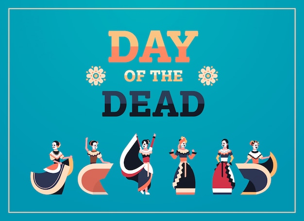 Day of dead traditional mexican halloween banner