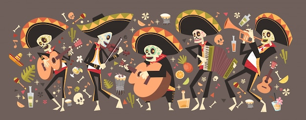 Day of dead traditional mexican halloween dia de los muertos holiday party decoration banner invitation