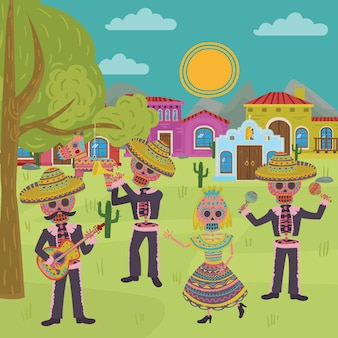 Day of the dead, traditional mexican halloween dia de muertos holiday party   illustration,