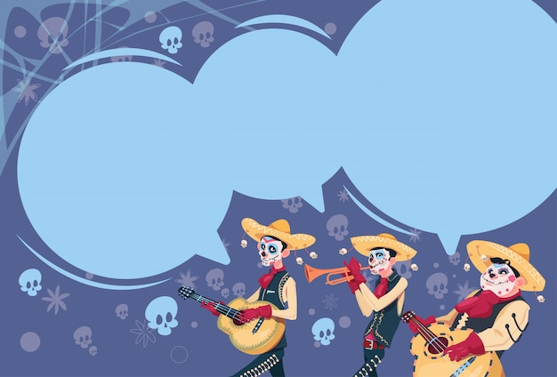 Day of dead traditional mexican halloween holiday party decoration banner invitation group of skeleton play guitar