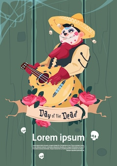 Day of dead traditional mexican halloween holiday party decoration banner invitation skeleton play guitar