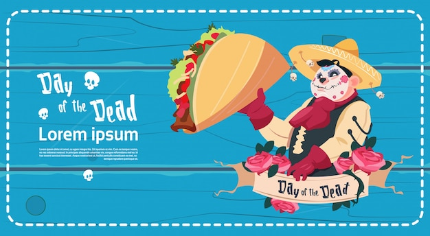 Day of dead traditional mexican halloween holiday party decoration banner invitation
