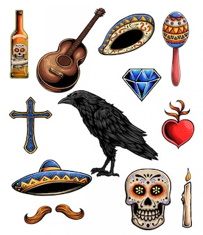 Day of the dead vector set elements