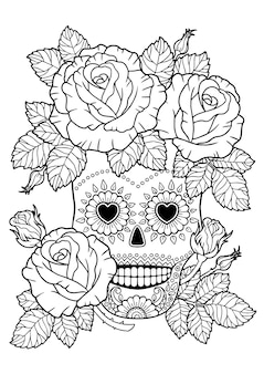 Day of the dead, zentangle sugar skull. vector adult coloring book